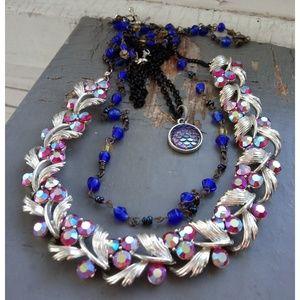 Vintage pink silver blue mermaid rhinstone jewelry